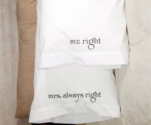 mr mrs tagline pillow cover