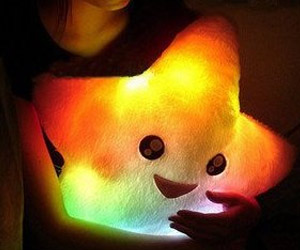 Star shape pillow with led lights