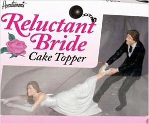 groom pulling Reluctant bride cake topper figure