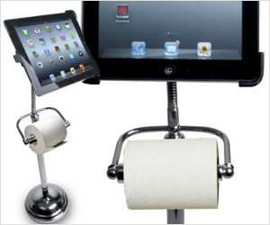 ipad stand with toilet paper roll holder