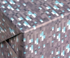 minecraft game inspired diamond design gift paper