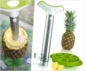 cut pineapple core and make slices