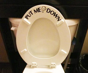 put me down toilet seat cover sticker. Black Bedroom Furniture Sets. Home Design Ideas