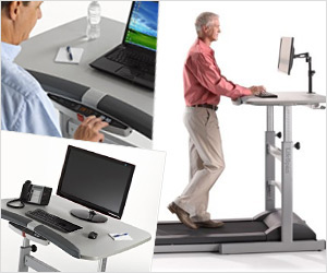 automatic treadmill maching with attached desk for laptop pc