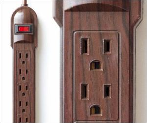 power strips with wood finis to match wooden floor