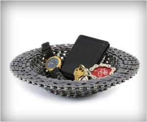 decoration table bowl made of bike chain