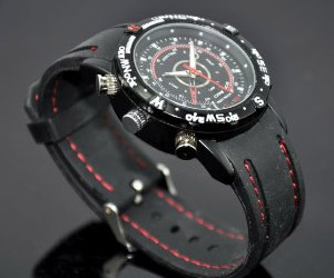 black wrist watch with hidden spy camera for video recording