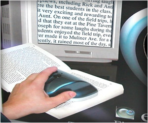 visual aid magnifier for reading books, newspaper in magnified form on tv