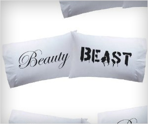 pillow cover for valentine day gift with beauty and beast written on them