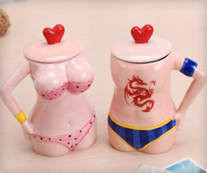 love mugs in shape of bikini couple