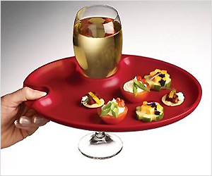 dinner plate with wine glass holder hole