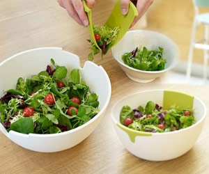 salad bowl with integrated server spoon hands for serving