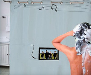 Shower curtain with in-built speakers for music listening