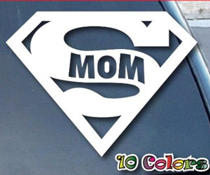 special super mom sticker for car window