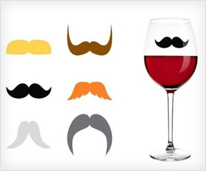 fun party drink makers with mustache design to identify drink glasses