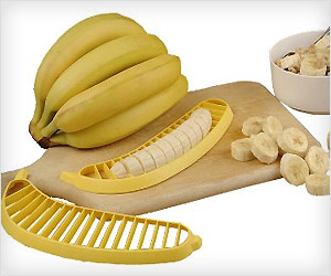 slice banana quickly with safety using slicer