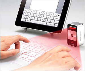 virtual light keyboard projected by laser device