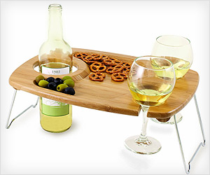picnic table with space for snacks, wine bottle, glasses