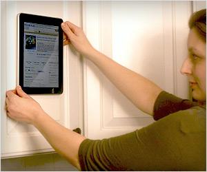 stick ipad galaxy tab on wall cabinet door refrigerator
