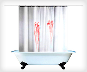 scary shower curtain with blood hands design