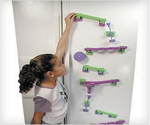 fridge magnet rails game, moving marble