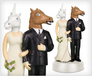 unicorn couple wedding cake topper