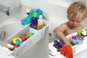Basket to store bath toys over the tub directly
