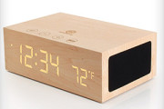 Wooden bluetooth speakers with LED alarm clock display