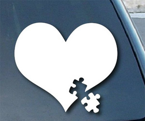 Autism awareness heart puzzle sticker decal for car