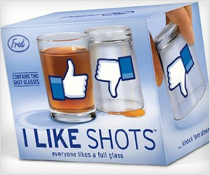 Shot Glasses with Facebook Like Thumbs up down button