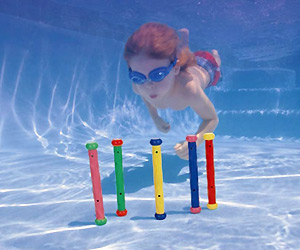 Pool Dive Sticks stand upright at pool bottom