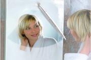 Wiper to clear steam off bathroom mirror