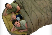 Family sleeping bag for outdoor night stay on adventure