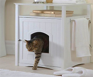 Pet litter house that looks like night stand table