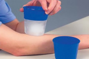 Re-usable cups for ice massage therapy