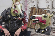 Scary Zombie Horse Mask with torn flesh