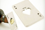 Spade playing card shape cut out in credit card size metal bottle opener